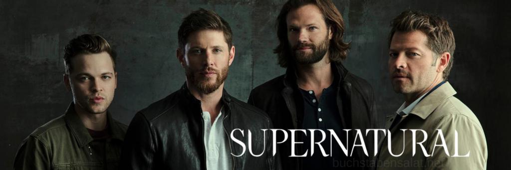 """Banner zur Serie """"Supernatural"""". Abgebildet sind die Hauptfiguren Sam und Dean Winchester, Castiel und Jack. Ein hinterlegter Link führt zum Serientipp."""