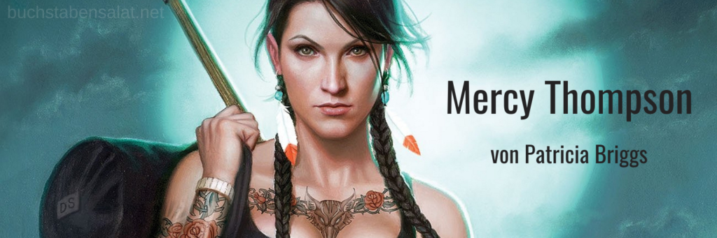 Mercy Thompson Reihe Buchempfehlung Banner. Close-Up des Gesichts der Protagonistin. Illustration von Daniel dos Santos.