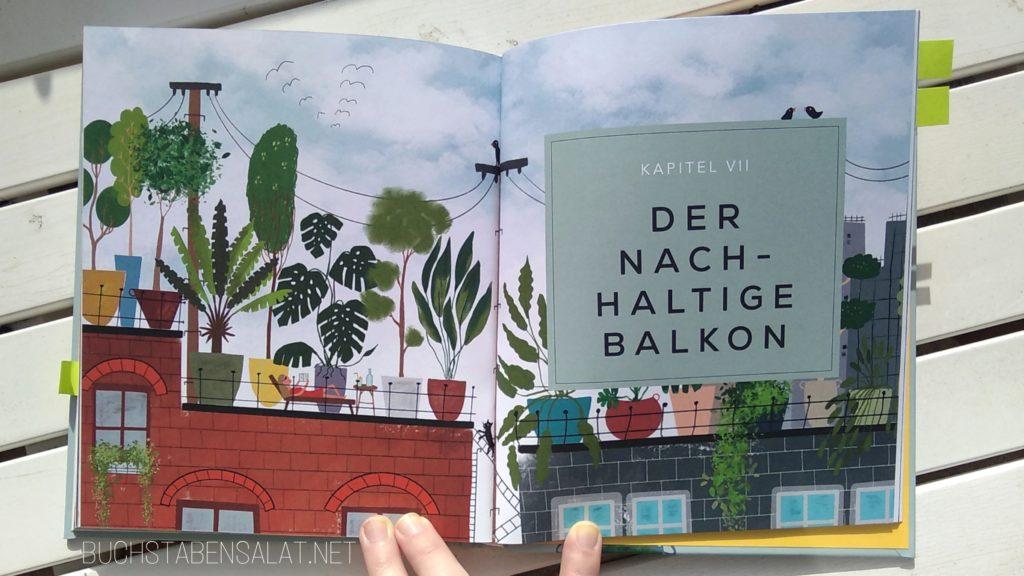 """Buch Balkon von Lotte Coers. Innenansicht 1. Titelseite zum Kapitel """"der nachhaltige Balkon"""" mit bunter Illustration zweier Dachterrassen voller Pflanzen."""