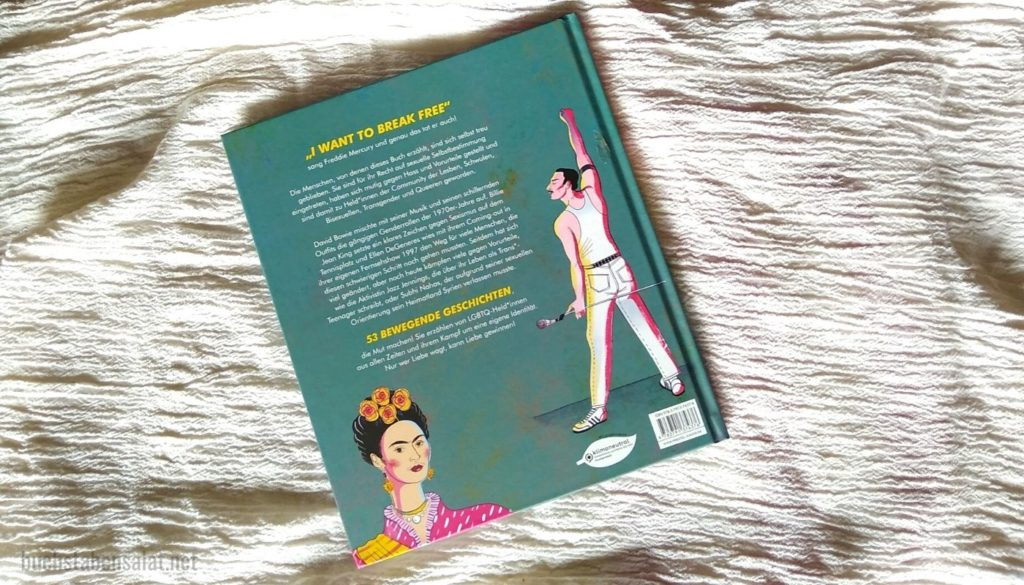 Queer Heroes: Rückansicht. Dargestellt ist der Klappentext sowie Frida Kahlo und Freddie Mercury.