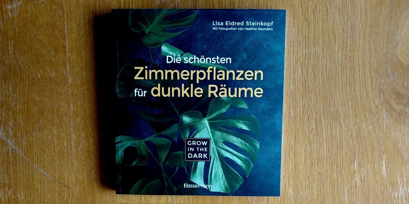 Die schönsten Zimmerpflanzen für dunkle Räume. Buch mit Cover zum Betrachter vor braunem Hintergrund