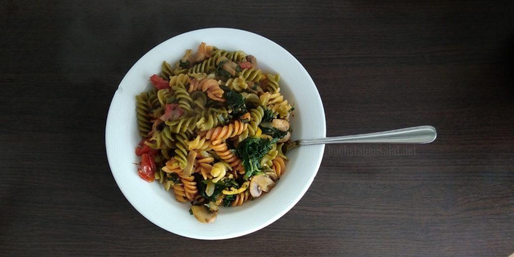 Food For Future. Rezeptbeispiel nachgekocht. Pasta mit Spinat und Pilzen