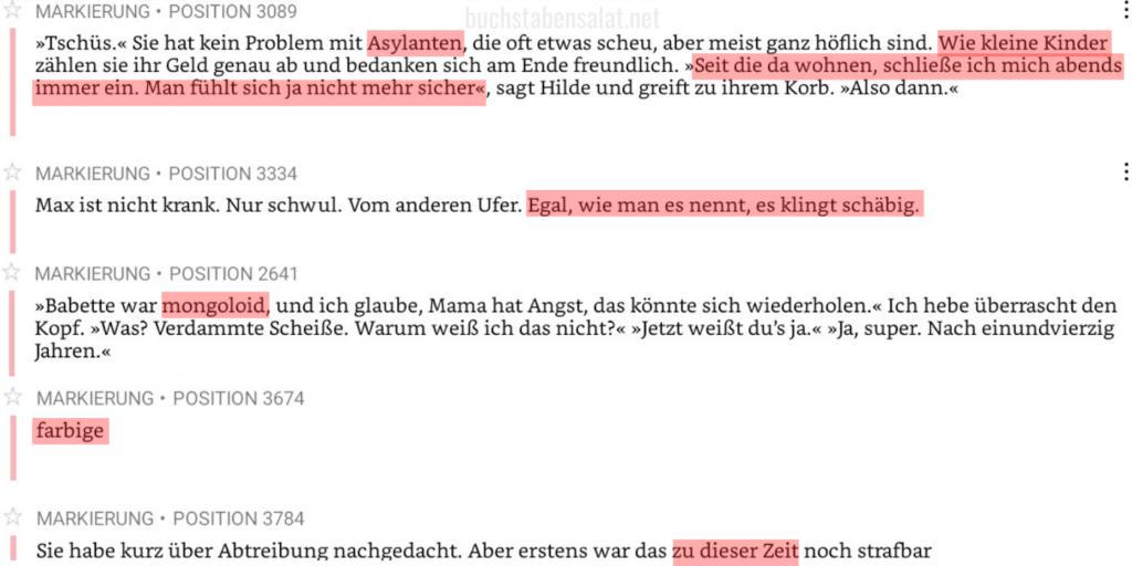 """Rot markierte Zitate aus dem Buch """"Wir für uns"""" von Barbara Kunrath. Sie sind auf einem Screenshot abgebildet. Zu lesen sind Begriffe und Formulierungen, die ich als verletzend und/oder rassistisch erachte. Ich habe alle Begriffe recherchiert, bevor ich meine Rezension geschrieben habe, um sicher zu gehen, dass ich keine falsche Einschätzung abgebe. Im weiteren Verlauf gehe ich genauer auf die Zitate ein, sodass ich in diesem Alternativen Text keine komplette Abschrift machen muss."""