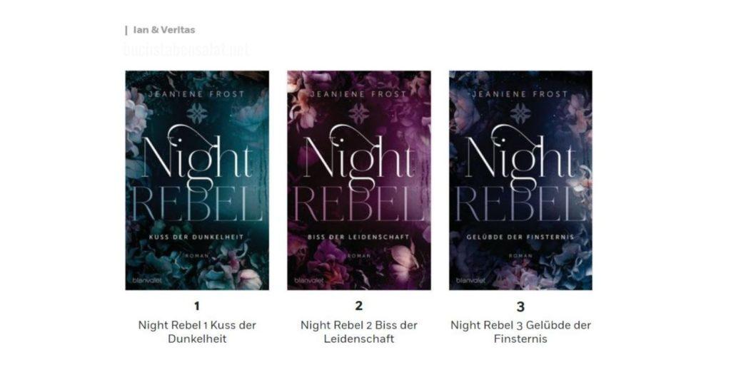 Night Rebel Coveransicht in der richtigen Reihenfolge. Bücher von Jeanine Frost