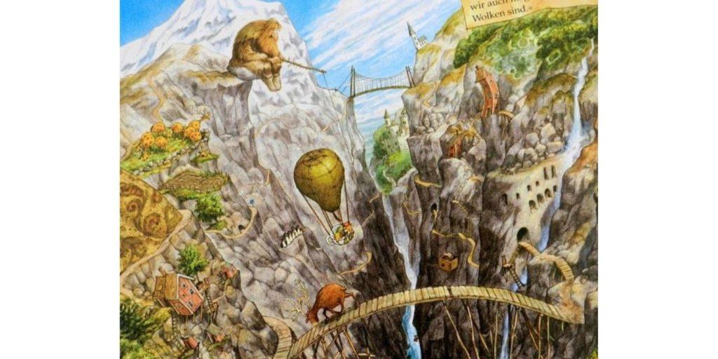 """Abgebildet ist eine Illustration aus dem Buch """"Wo ist meine Schwester?"""" von Sven Nordquist. Man sieht den Birnen-Heißluftballon zwischen zwei Klippen, umgeben von zu vielen Details, als dass ich sie in dieser kurzen Beschreibung alle nennen könnte."""